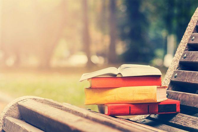 オープンブックに横たわるベンチ