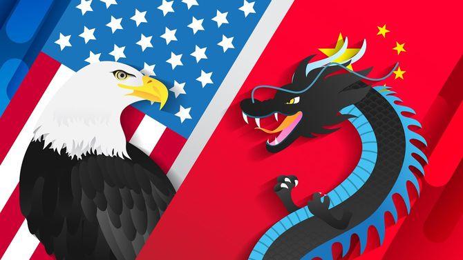 ハクトウワシと中国の竜が向かい合っているイラスト