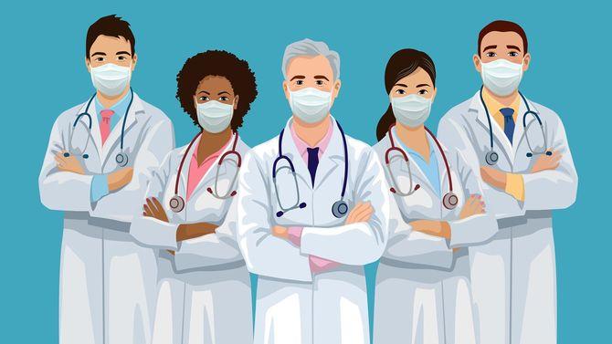 フェイスマスクをつけた医療チーム