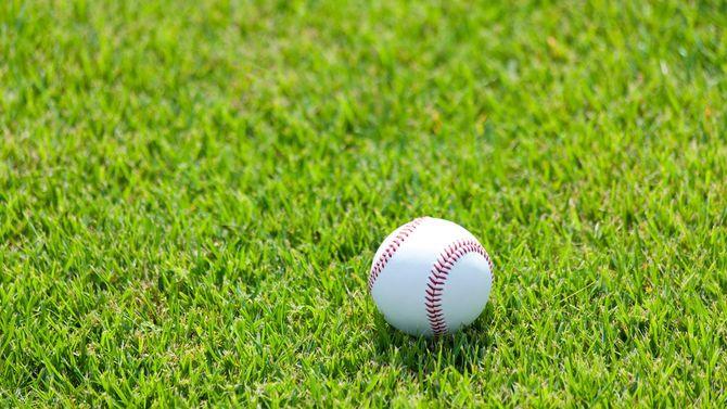 芝生の上に野球ボール
