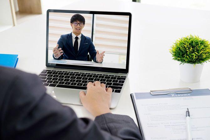 オンライン面接。オンライン会議。オンライン ビジネス。