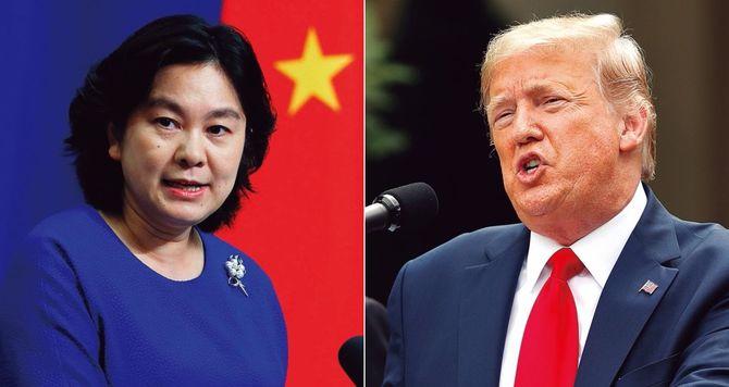 「やられた分だけやり返す」。これが中国のメンツ外交の基本だ。写真左は、華春報道官。