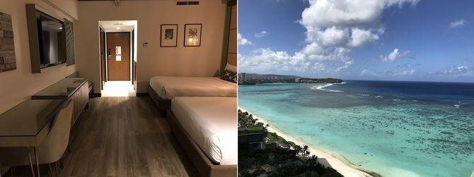 (左)部屋の様子/(右)島の中心地にあるホテルの隔離部屋(18階・オーシャンビューデラックスルーム)からの眺め。ベランダから脱出を図れないよう高層階に部屋割りされている