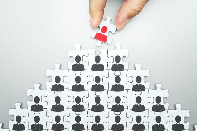 ビジネス組織の指導者を選択します。人的資源管理。頭の狩猟。