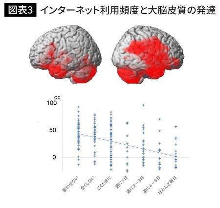 インターネット利用頻度と大脳皮質の発達