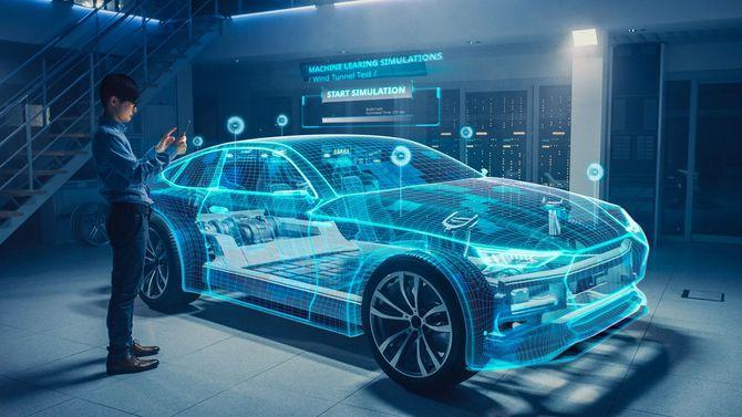 AR技術を使用して、自動車設計の分析を行うエンジニア