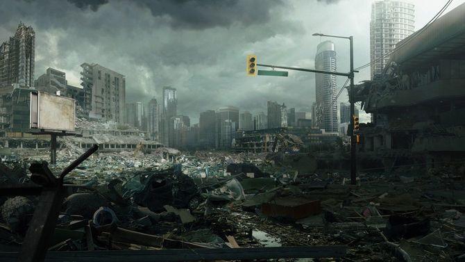 瓦礫と化した街並み