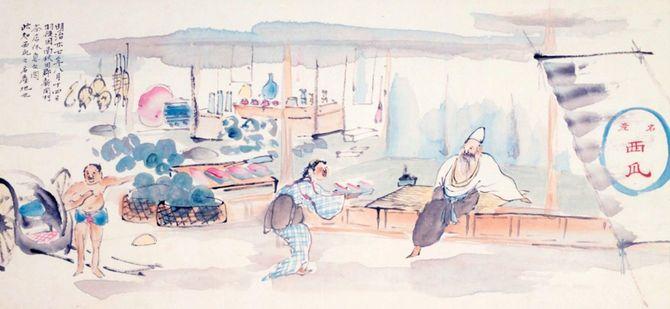 秋田での西瓜屋の図。このように、蓑虫山人は当時の庶民の生活をモチーフに多くの日記を残している。しかし、めちゃくちゃリラックスしている(秋田県立博物館所蔵、撮影・田附勝)。