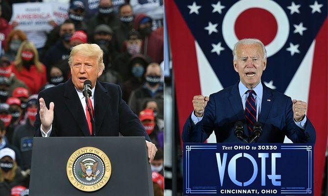 2020年10月25日にニューハンプシャー州ロンドンデリーで演説するドナルド・トランプ米大統領と、2020年10月12日、オハイオ州シンシナティで演説を行う民主党の大統領候補で元副大統領のジョー・バイデン氏