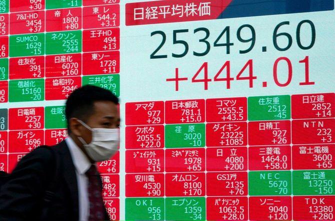 東京の日経平均株価の終値を示すディスプレイの前を歩く歩行者=2020年11月11日