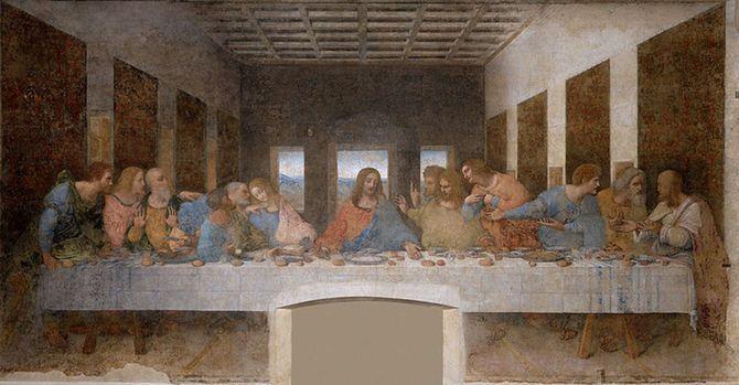 「最後の晩餐」(1495-1498)レオナルド・ダ・ヴィンチ、サンタ・マリア・デッレ・グラツィエ修道院食堂(ミラノ)所蔵