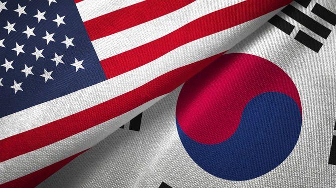 韓国と米国 2つのフラグ一緒に realations 繊維布の生地テクスチャ