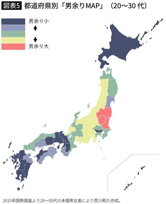 都道府県別「男余りMAP」(20~30 代)