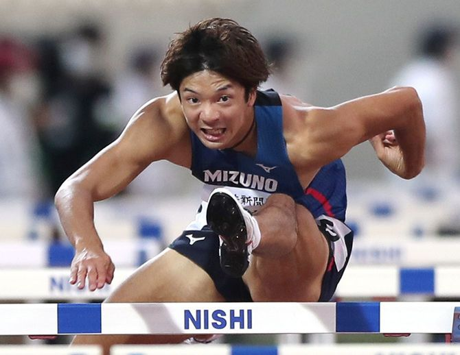 男子110メートル障害決勝で優勝した金井大旺(ミズノ)