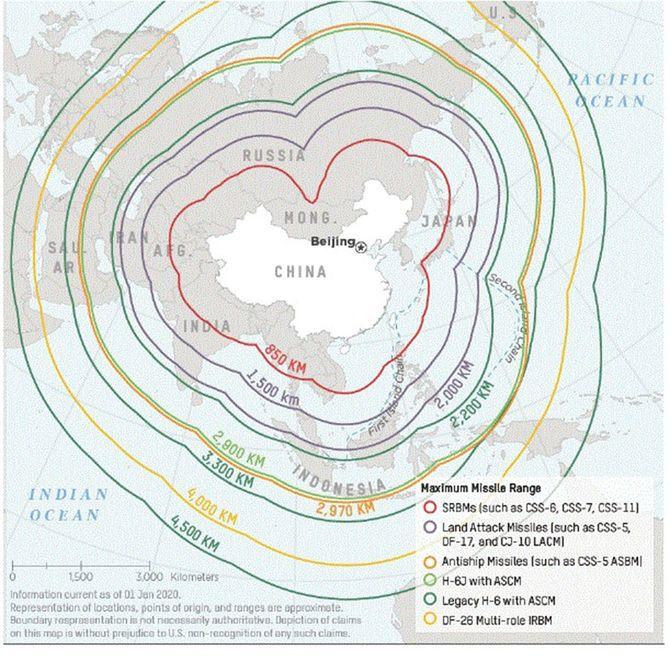 中国の中距離ミサイルの射程圏