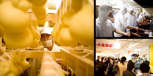 棚にぶら下げて熟成させるチーズ「カチョカヴァロ」。牧場の主力商品だけに品質管理には厳しく目を光らす。手づくりチーズは難しく、品質を安定させるのに苦労した(左)。人気商品「生キャラメル」を社員に指導。手づくりにこだわる(右上)。デパートの催事場で行われる物産展では、自ら店頭に立ち、商品をアピールする。芸能人の強みを遺憾なく発揮する(右下)。取材協力/玉川高島屋S・C