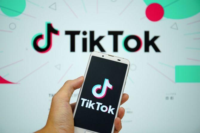 スマホ画面に映る短編動画アプリ「TikTok(ティックトック)」のロゴマークと同アプリのホームページ=2020年8月14日、東京都中央区