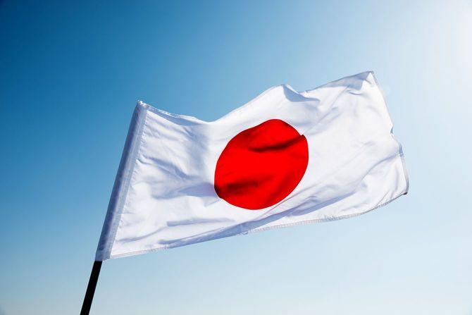 日本の国旗を振って、風
