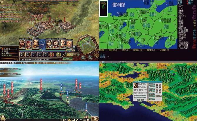 初代「信長の野望」(右上)から比べると、最新作(左下)は見た目・システム面が大きく変わっているが、ゲームの根幹は変わらない。