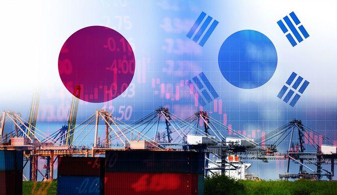 日韓貿易戦争ホワイトリスト経済紛争税-日本はボイコットを宣言する韓国の商品輸出を宣言する技術ビジネス株式市場チャート