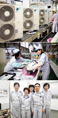 上海郊外にある工場では、マルチエアコン(写真上、室外機)から小型のルームエアコン(写真中)までさまざまな機器が組み立てられる。下は暖房の開発メンバー。中国発の商品を世界で展開するのが夢。