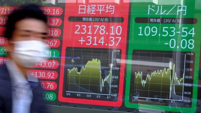 2020年6月8日、東京都内で、東京証券取引所の株価と対ドルの為替レートを表示した電光掲示板の前を歩く歩行者。