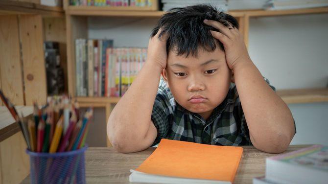 宿題に疲れてしまった少年