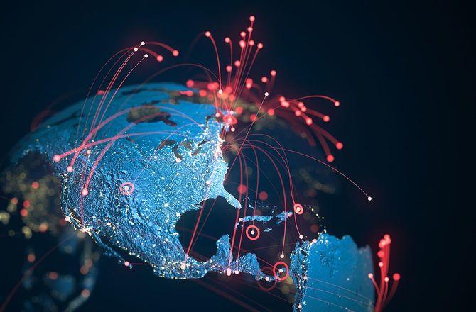 北米と南米、赤い接続線