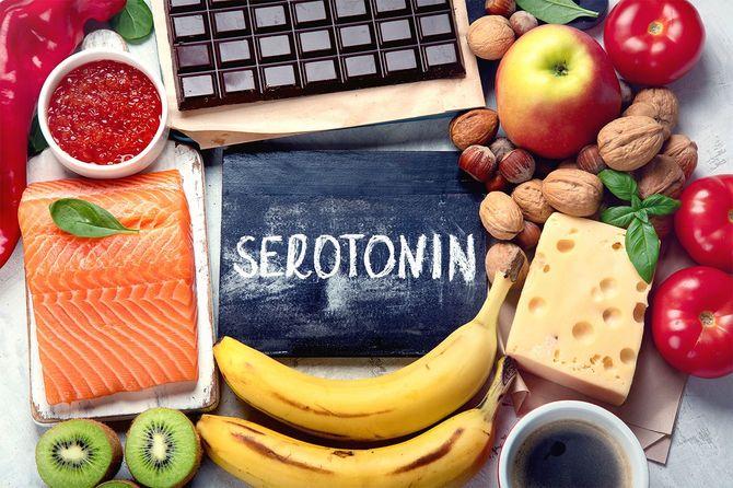 良い気分、脳と幸福のための食品。セロトニンとドーパミンの自然な源