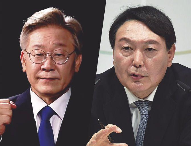 韓国大統領選挙で有力候補者の李在明(左)と尹錫悦。