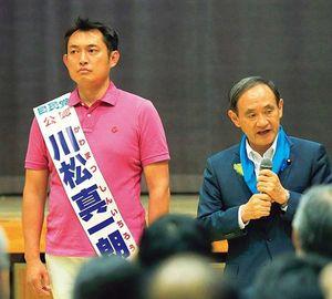 小池旋風が吹き荒れた2017年東京都議会議員選挙で川松氏のもとに応援に駆けつけた菅首相