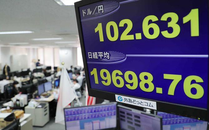 日経平均株価の終値を示す電光ボード