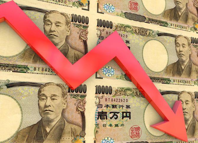 一万円札とグラフ