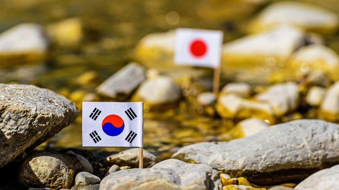 川を挟んで韓国の国旗と、日の丸