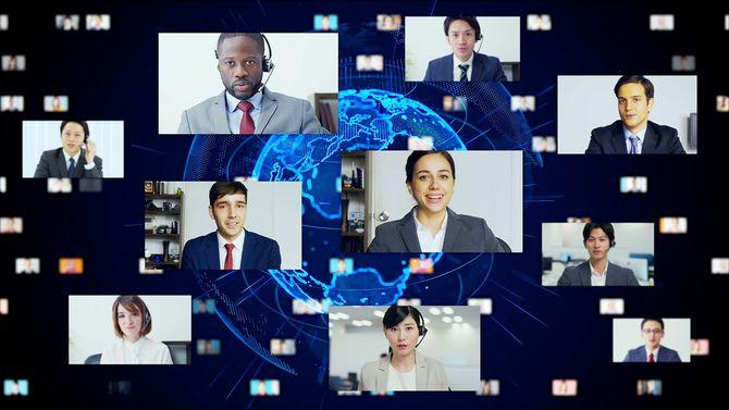 グローバル通信ネットワークの概念。ビデオ会議。テレミーティング。フラッシュニュース。