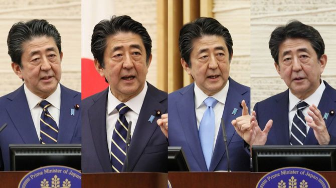 左から4月7日、5月4日、5月14日、5月25日の記者会見で話す安倍首相。