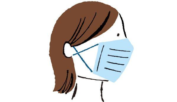 その1:マスクのひもを耳でクロスさせて調整する