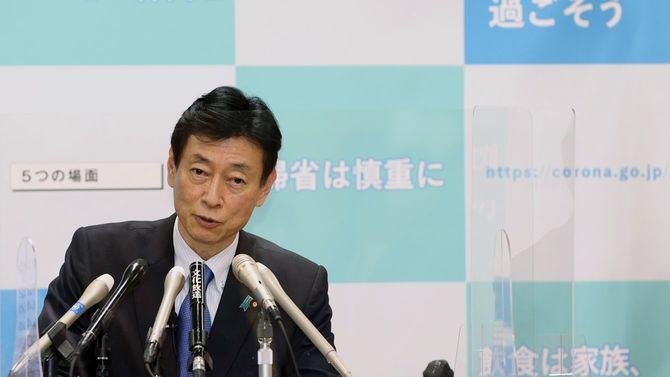 記者会見する西村康稔経済再生担当相=2021年1月6日、東京都千代田区