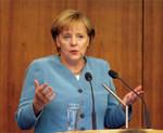 6月、講演でユーロ安定化の重要性について語る独メルケル首相。(PANA=写真)