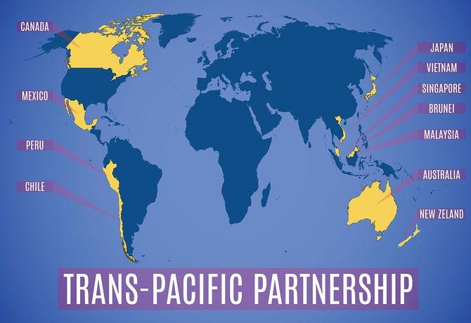 米国(TPP)後の新しい環太平洋パートナーシップの地図