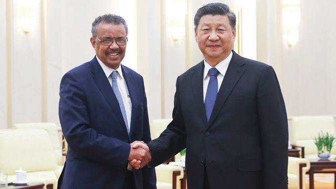 中国の習近平国家主席は2020年1月28日、世界保健機関(WHO)のテドロス・アダノム・ゲブレイェソス事務局長と北京で会談