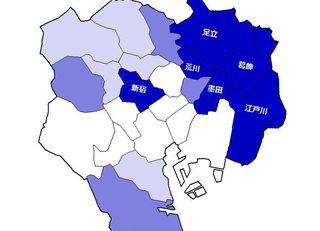 TOKYO虫歯率マップ 東部は「真っ黒」