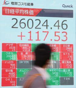2万6000円台になった日経平均株価を示すボード=2020年11月17日午前、東京都中央区