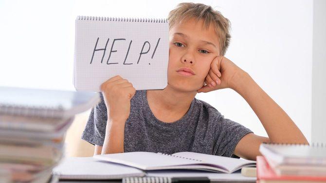 動揺している少年がテーブルに座り、山積みの本の中で宿題をしている。開いたノートにはヘルプ!の文字が書かれている。