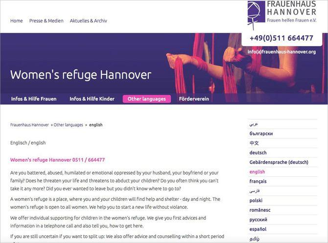 ハノーファーの「女性の家」のホームページ。13カ国語に対応している。