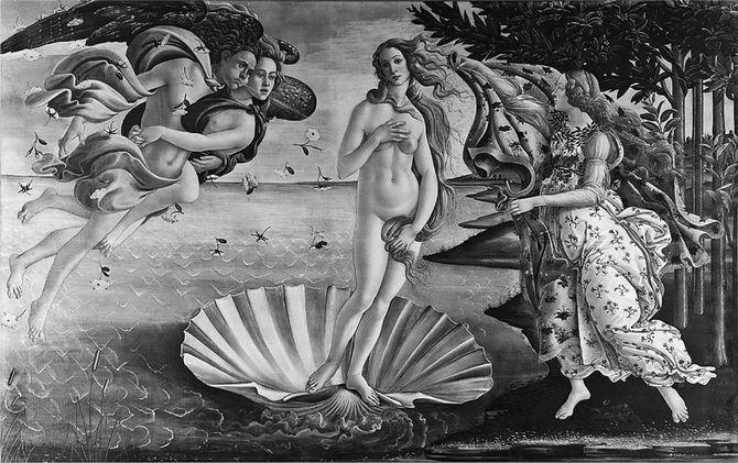 サンドロ・ボッティチェッリ〈ヴィーナスの誕生〉1484~86年/ウフィツィ美術館 フィレンツェ/右手で胸を隠し左手で下腹部を隠す「恥じらいのポーズ」は古代ギリシャから伝わるもの