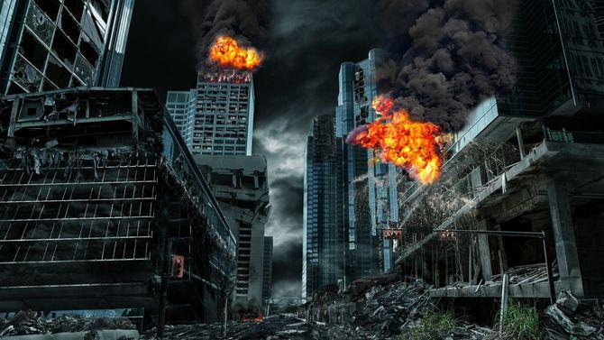 破壊された架空の都市