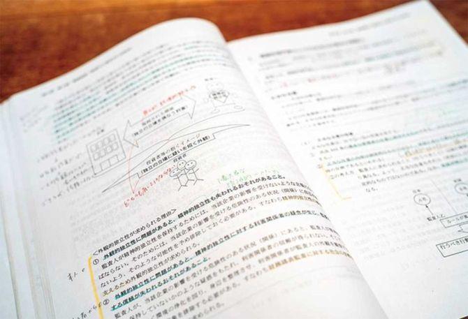 黄色い線は苦手なところ、赤い書き込みは毎回間違えるところなど、ノートは使わず予備校の教科書に色分けして書き込みをする形で勉強した。