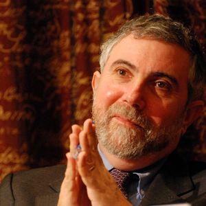 2008年12月7日、ストックホルムのスウェーデン科学アカデミーにて記者会見するノーベル経済科学賞を受賞者したポール・クルーグマン氏