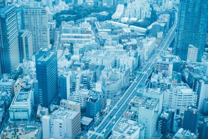 上空から見た町